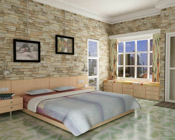 steinwand wohnzimmer beige originelle schlafzimmergestaltung ideen