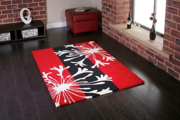 teppich-modell-rot-und-schwarz- moderne zimmergestaltung