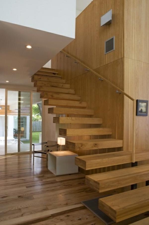ockra farbe für freischwebende treppen aus holz