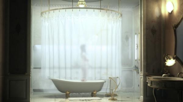 ultramoderne-badewanne-freistehend - schöne gardinen