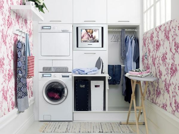 wäschezimmer-modernes-interieur- originelle wandgestaltung