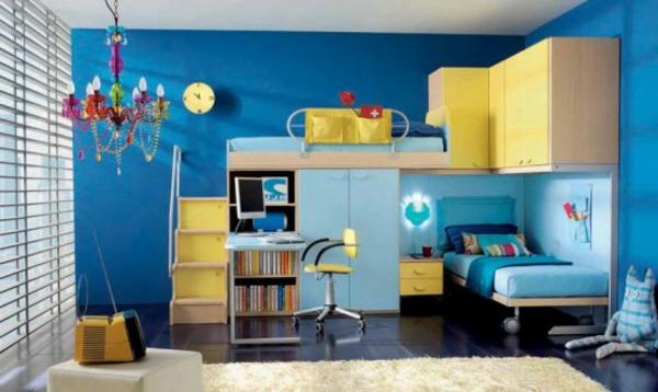 wandfarben-idee-fürs-jugendzimmer mit einem hochbett