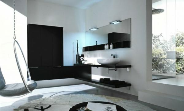 weiß-und-schwarz-badezimmer- schaukel, von der decke hängend