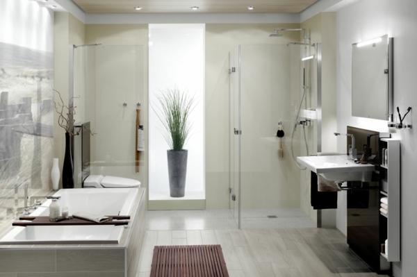 badezimmer modern gestalten - badewanne und bodengleiche dusche