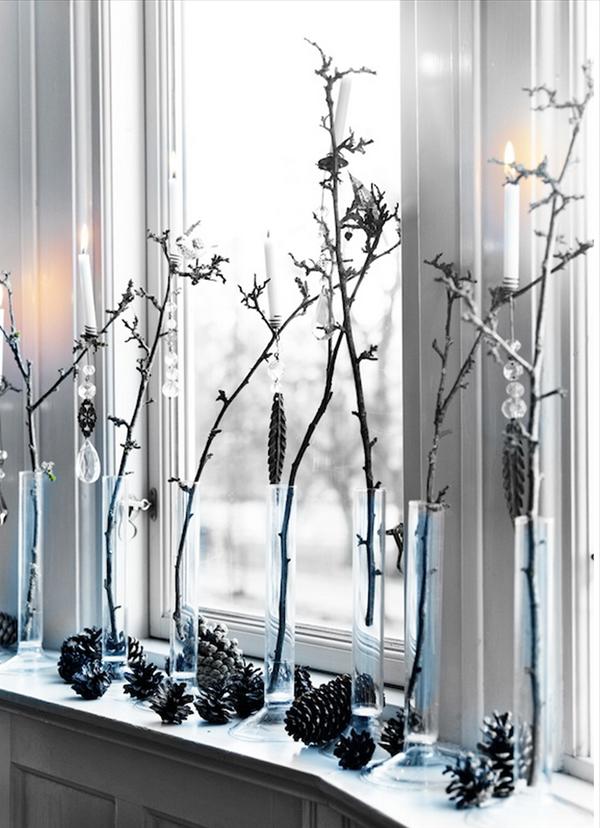 Weihnachten Deko Am Fenster Weisse Farbe Baumzweige