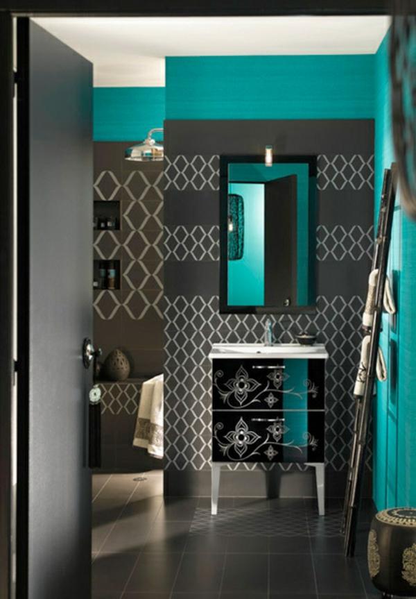 wohnung mit modernen farben gestalten trkis und grau - Moderne Badezimmer Trkis