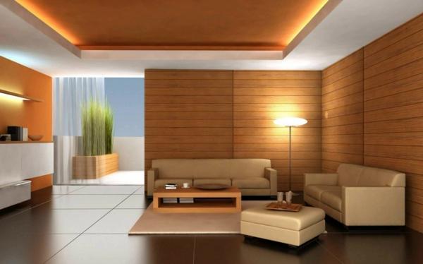 holzwände und beleuchnung im wohnzimmer
