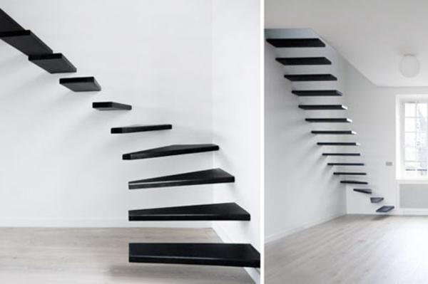 weiße wand und freischwebendde treppen in schwarz
