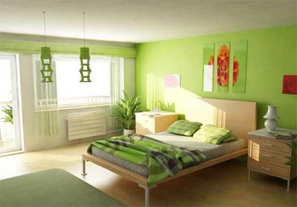 zimmer-streichen-ideen-schlafzimmer-mit-grüner-wandfarbe und pflanzen