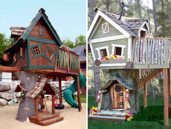 zwei-modelle-von-baumhäusern- in braun und in grau