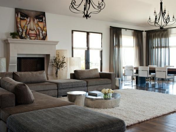taupe wohnzimmer:Gemütliches-wohnzimmer-taupe-graucreme-kronleuchter-schöner-wohnen