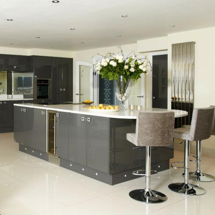 wunderschöne küche gestaltung - wandfarbe grau