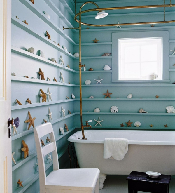 ... -dekoartikel - moderne badezimmer dekoration - muscheln an der wand