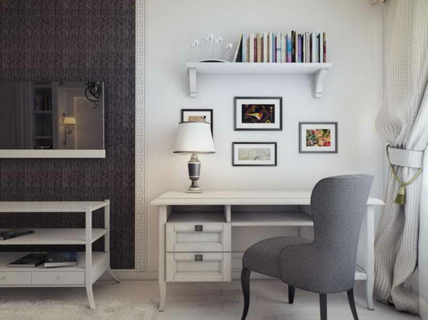 büromöbel-ikea-grauer-stuhl- bücherregal und weiße dicke gardinen