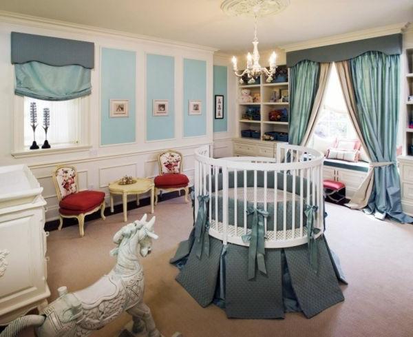 babybett-rund-schönes-babyzimmer - blaue farbe