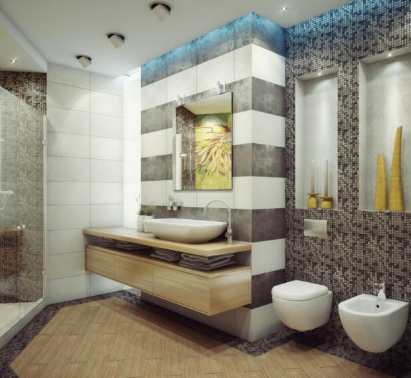 badezimmer-dekoration-grau-und-weiß-kombinieren - interessante wandgestaltung