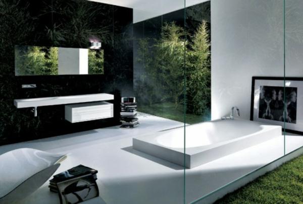 Badezimmer Dekoration Moderne Einrichtung   Gläserne Wand Und Grüne Pflanzen