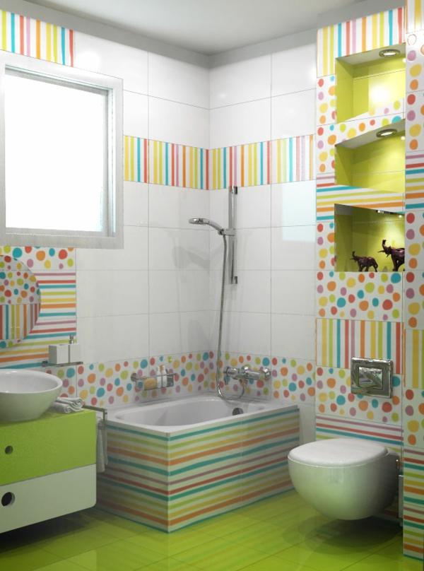 badezimmer-fliesen-ideen-weiß-und-grün - schöner wohnen badezimmer