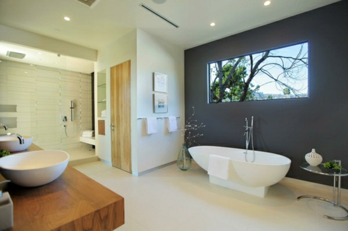 badezimmer gestalten graue wandfarbe und wandfarbe creme - Wandfarben Gestaltung Grau