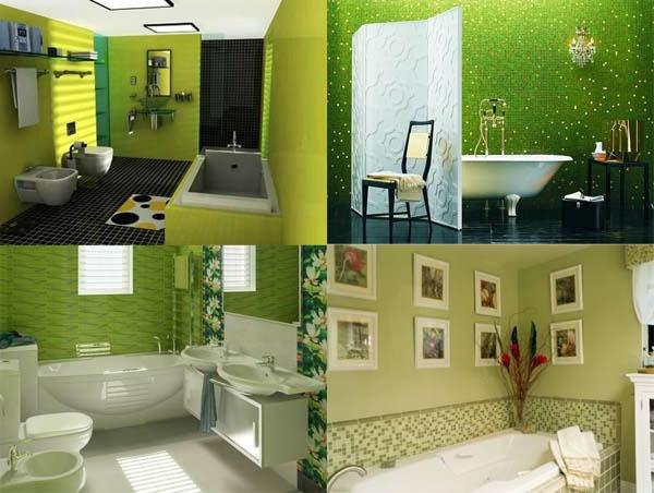 badezimmer-gestaltung-grüne-wandfarbe - vier fotos