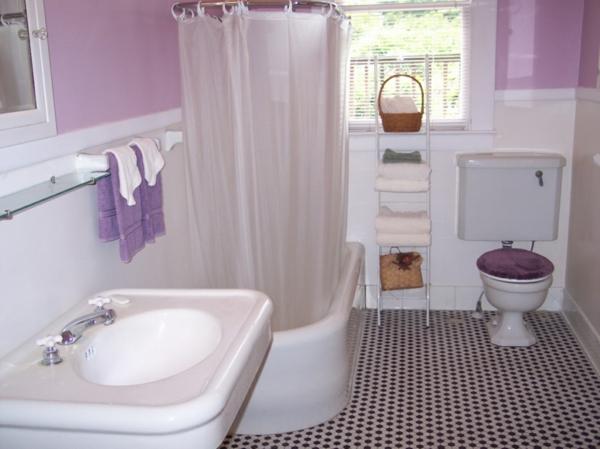 Badezimmer Vorschlage Ideen : badezimmerideenlilafarbschemen  gardinen in weiß