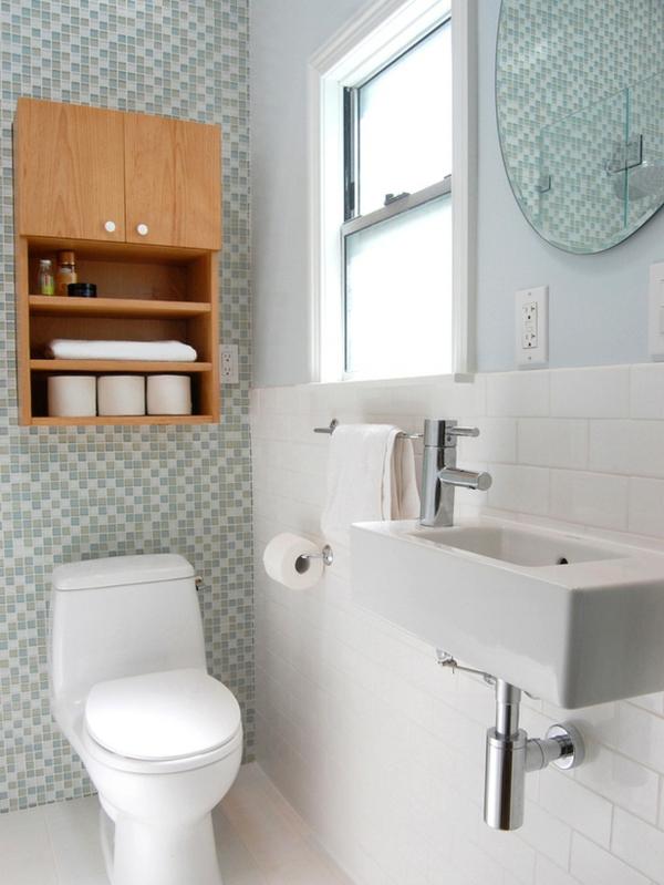 badezimmer-schöner-wohnen-toilette - schrank aus holz
