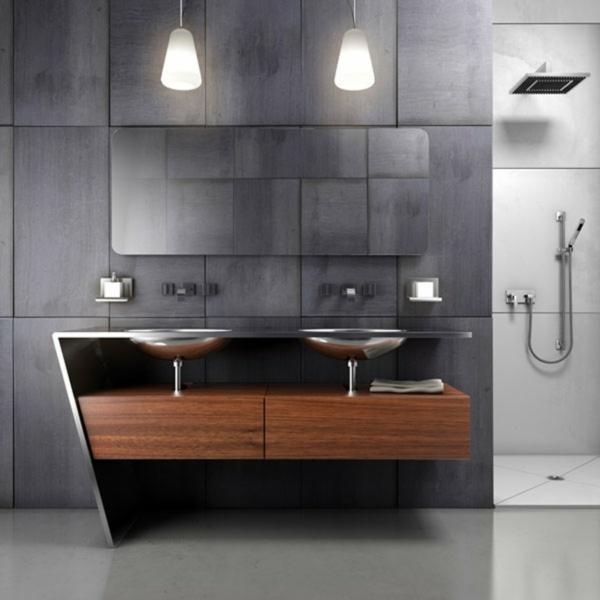badezimmer-vorschläge-graue-wandgestaltung - zwei lampen