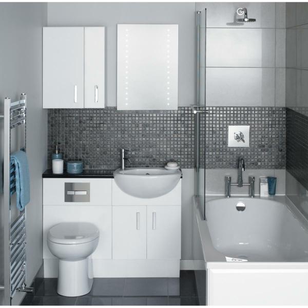 Elegant Badezimmer Wandfarbe Grau Und Weiß  Glaswand
