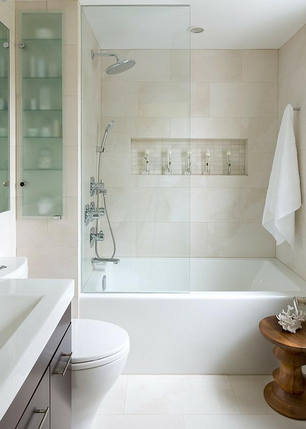 badfliesen-ideem-weiße-badewanne - glaswand zum trennen