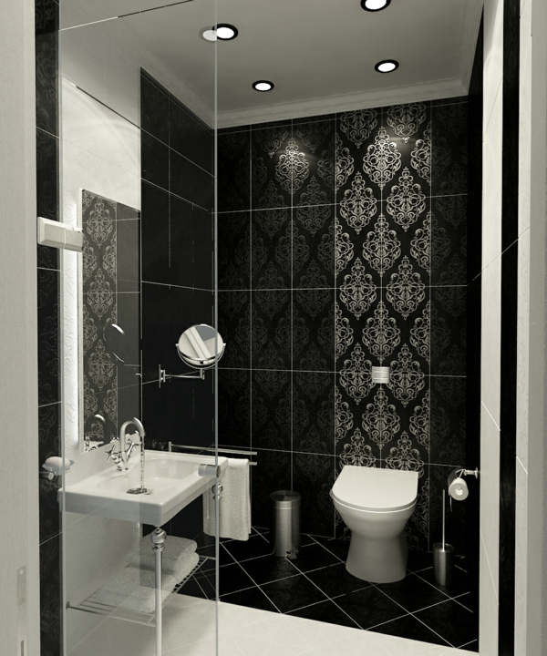 badgestaltung-kleines-bad-schwarze-wände - interessante badfliesen