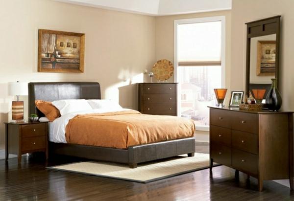beige-braunes-Schlafzimmer-gestalten-Ideen-orange-bettwäsche