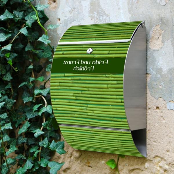 briefksten-mit-zeitungsfach-grüne-farbe - pflanzen auf der wand