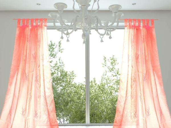 dekoideen-wohnzimmer-pfirsich-farbe - schöner kronleuchter