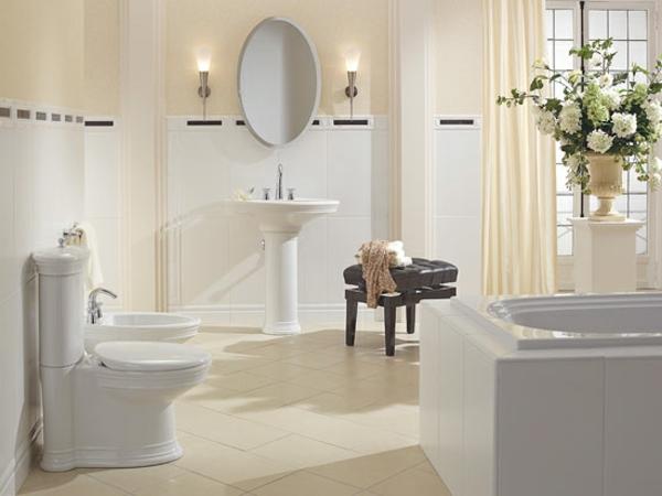 dekoration-für-badezimmer-weiße-farbe - spiegel mit ovaler form