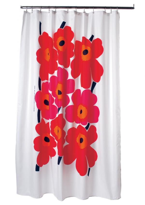 duschvorhang-design-rote-blumen-marimekko - hintergrund in weiß