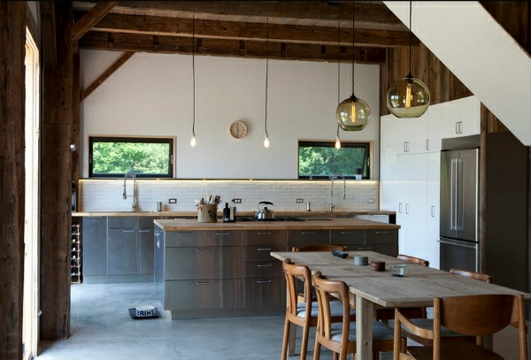 edelstahl-küche-esstisch-holz-pendelleuchten-dekoideen - interessante gestaltung