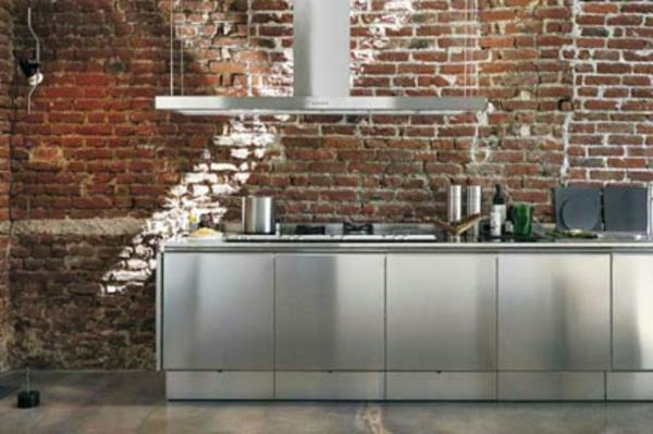 kuche mit ziegelwand ~ kreative ideen für ihr zuhause-design, Modernes haus