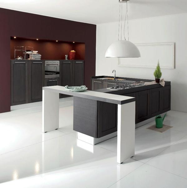 elegante-küche-gestalten-moderne-küchenmöbel- regale in schwarz