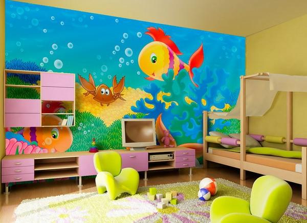 farben-fürs-kinderzimmer-fisch-im-meer- niedliche kindezimmergestaltung