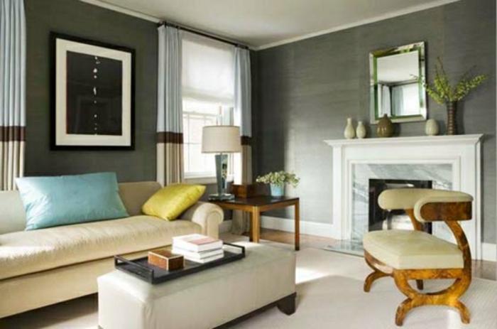 farbgestaltung-wände-kamin-sofa-bild-an-der-wand-graue-wandfarbe-im-wohnzimmer