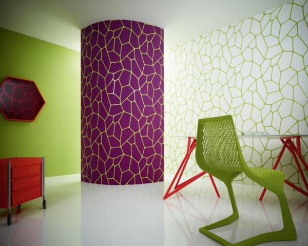 farbliche-wandgestaltung-lila-und-grün-zusammenbringen - kreativ
