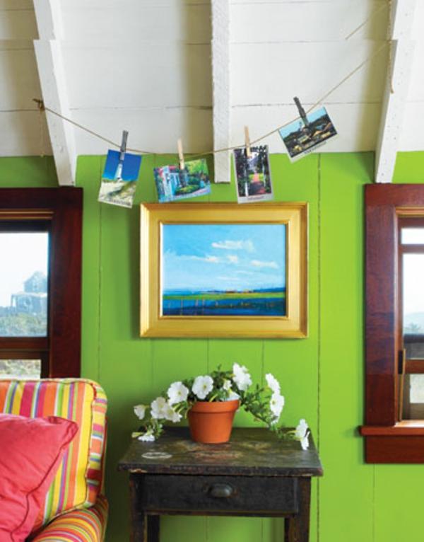 farbpalette-wandfarbe-grüne-grelle-nuance- topfblume und ein bild an ...