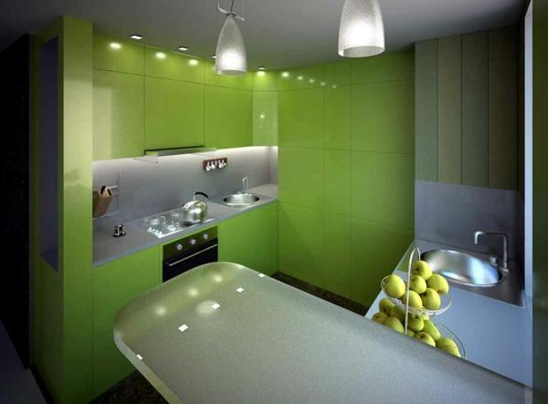 farbpalette-wandfarben-küche-in-grün – deckenleuchten und grüne ...