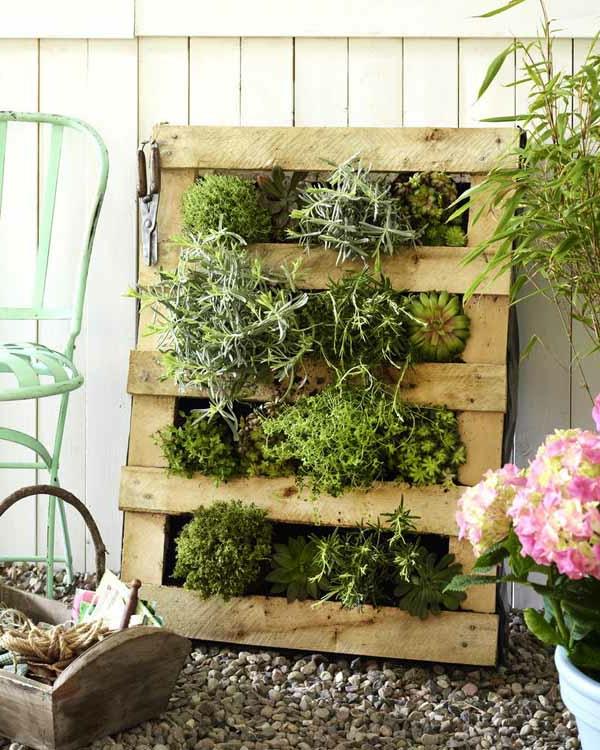 gartendeko idee -grüne pflanzen in kasten aus paletten