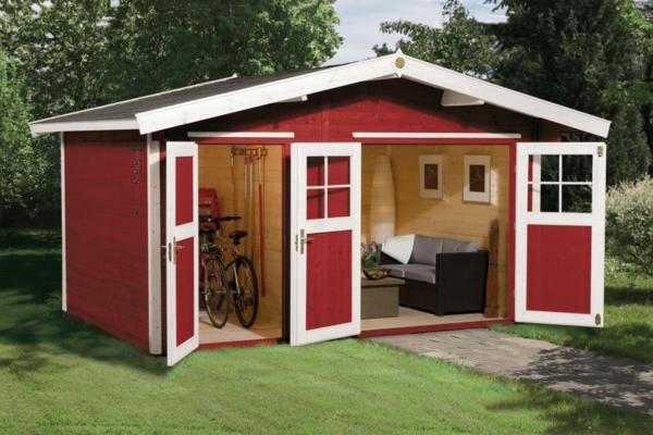 gartenhaus-mit-einem-zimmer-und-einem-anderem-zimmer-für-geräte-und-fahrräder - moderne gestaltung