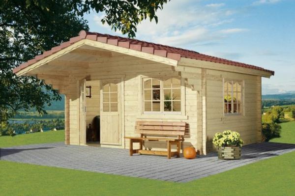 gartenhaus-selber-bauen-schön-und-hell - Bank draußen