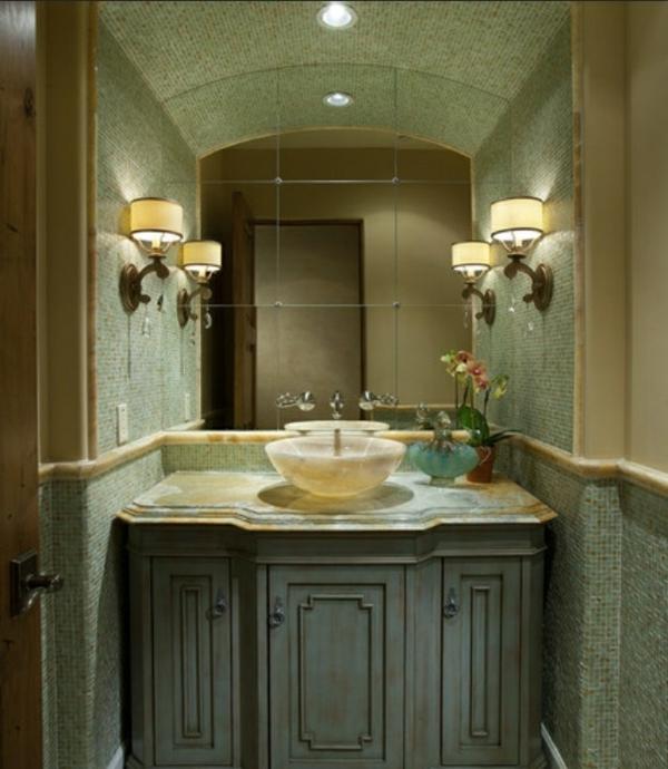 grünes-badezimmer-moderne-dekoration-für-kleine-bäder - spiegel modell