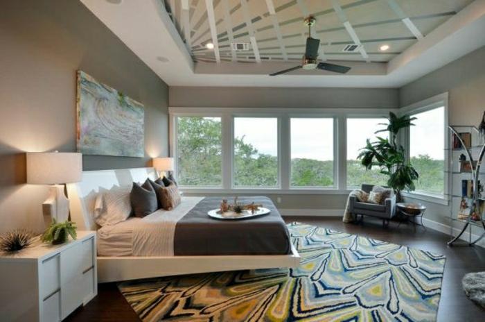 graue-Designs-schlafzimmer-teppich- wand-streichen-ideen-für-schlafzimmer