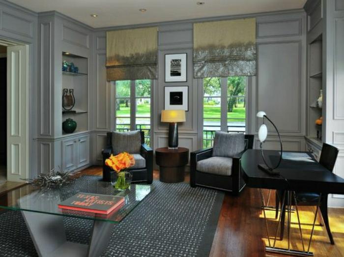 graue-Designs-schreibtisch-sofas-schöne-graue-wandfarbe-moderner-wohnen