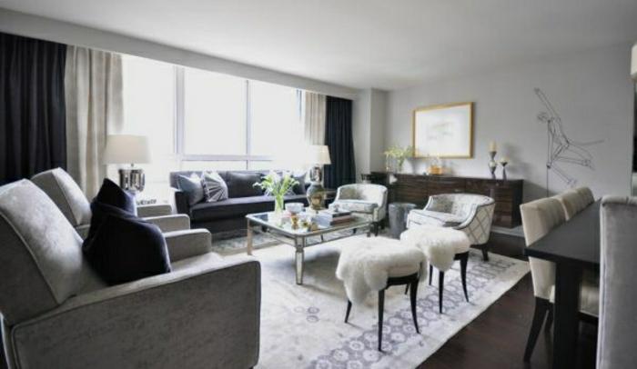 graue-Designs-wohnzimmer-sofa-interessane wandfarbe